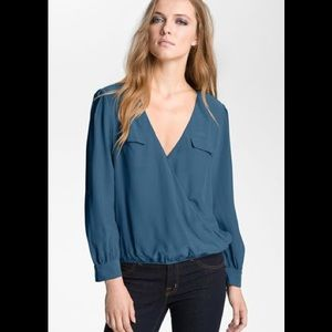 Joie Istanbul surplice silk blouse top xs